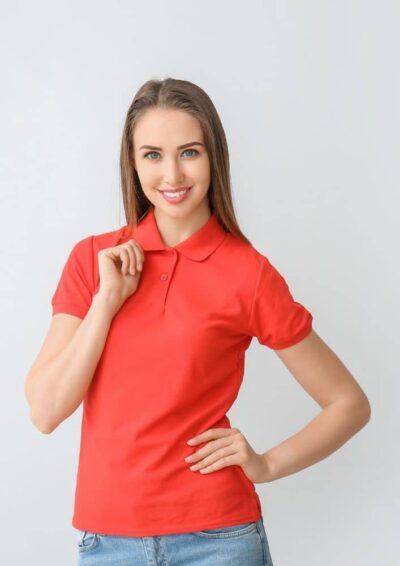 Damen Safran Poloshirt