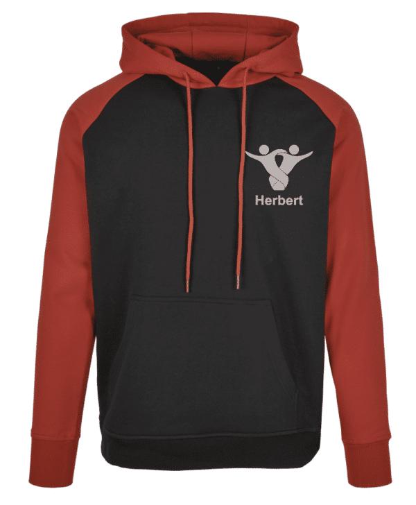 Textildruck Tshirts bedrucken lassen 2 Farben Hoodie RotSchwarz