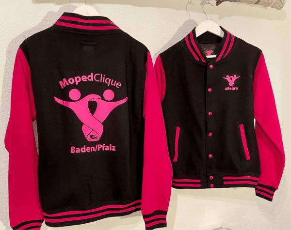 Textildruck Tshirts bedrucken lassen College Jacke SchwarzPink