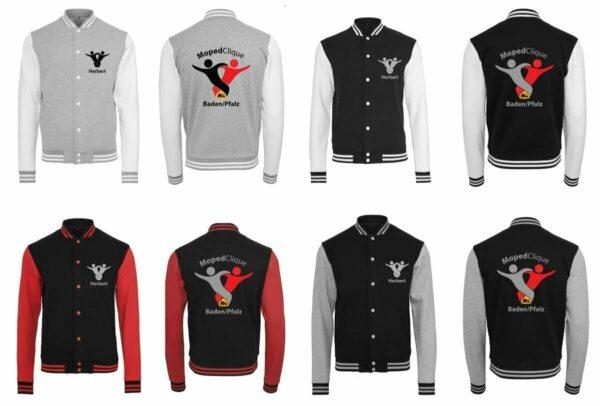 Textildruck Tshirts bedrucken lassen College Jacke Übersicht