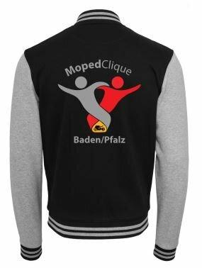Textildruck Tshirts bedrucken lassen College Jacke Übersicht GrauSchwarz Rückseite