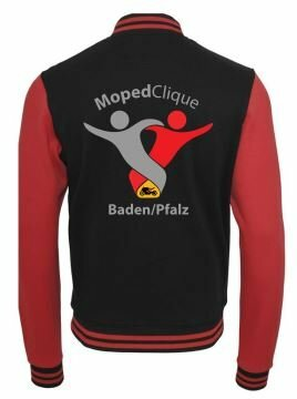 Textildruck Tshirts bedrucken lassen College Jacke Übersicht RotSchwarz Rückseite