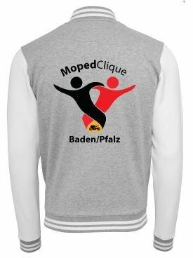 Textildruck Tshirts bedrucken lassen College Jacke Übersicht WeissGrau Rückseite