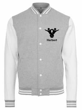 Textildruck Tshirts bedrucken lassen College Jacke Übersicht WeissGrau