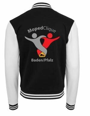 Textildruck Tshirts bedrucken lassen College Jacke Übersicht WeissSchwarz Rückseite