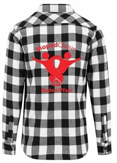 Textildruck Tshirts bedrucken lassen Flannel Hemd Grau Weiss Rückseite