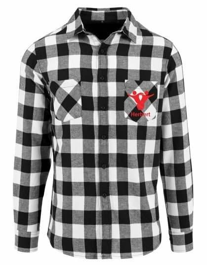 Textildruck Tshirts bedrucken lassen Flannel Hemd Grau Weiss