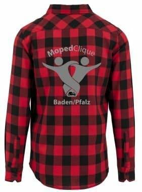 Textildruck Tshirts bedrucken lassen Flannel Hemd RotSchwarz Rückseite