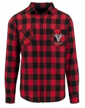 Textildruck Tshirts bedrucken lassen Flannel Hemd RotSchwarz