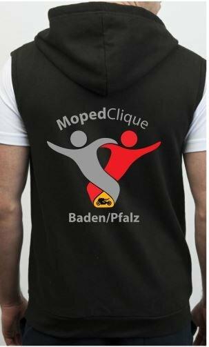 Textildruck Tshirts bedrucken lassen Vest Hoodie Schwarz Rückseite 1