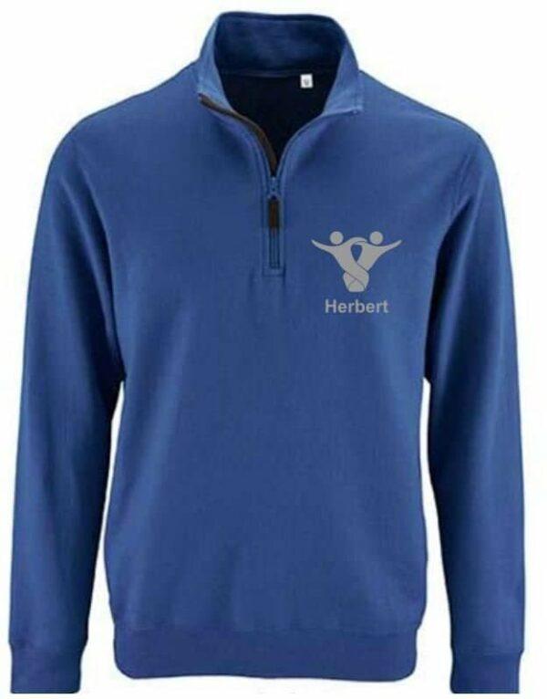 Textildruck Tshirts bedrucken lassen Zippullover Blau